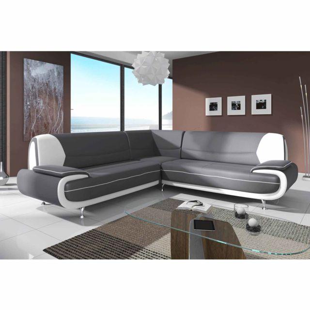 LA CHAISERIE Canapé D'angle Design Maria Gris et Blanc