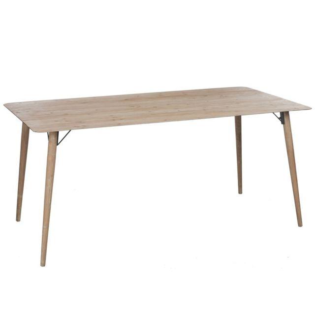 Tousmesmeubles Table de repas en bois naturel - Pino - L 180 x l 90 x H 78