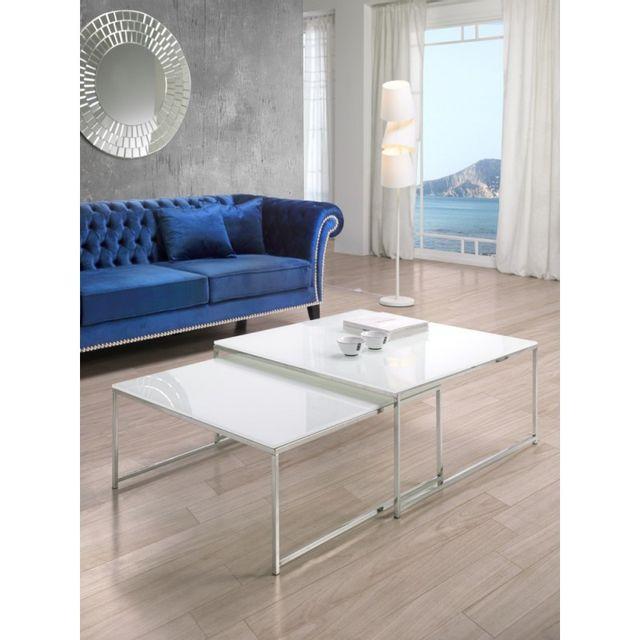 Ma Maison Mes Tendances Lot de 2 tables basses gigognes en verre blanc opaque et acier Zwilli - L 90 x l 90 x H 40