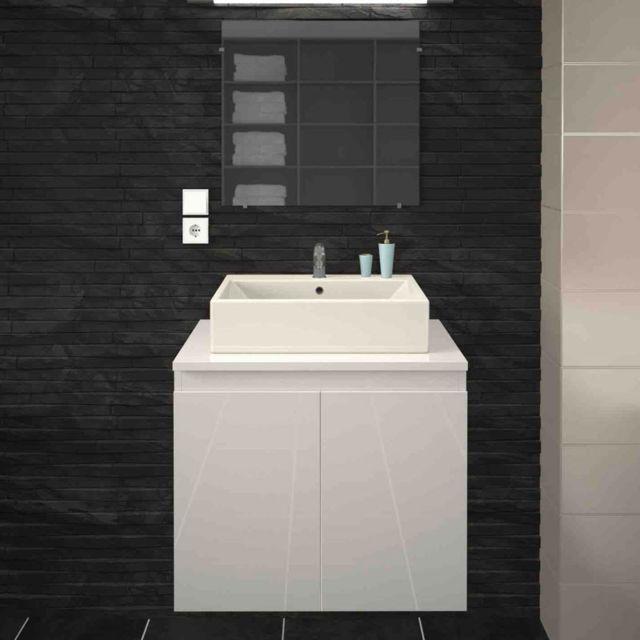 Tousmesmeubles Meuble Vasque 2 Portes Blanc Laque Logia N 1