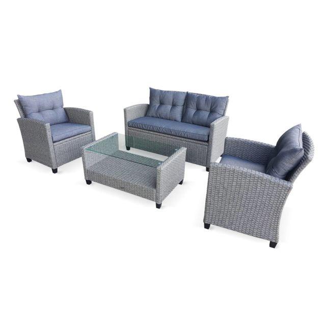 Salon de jardin en résine tressée arrondie - Foggia - Gris, Coussins gris -  4 places - 1 canapé, 2 fauteuils, 1 table basse