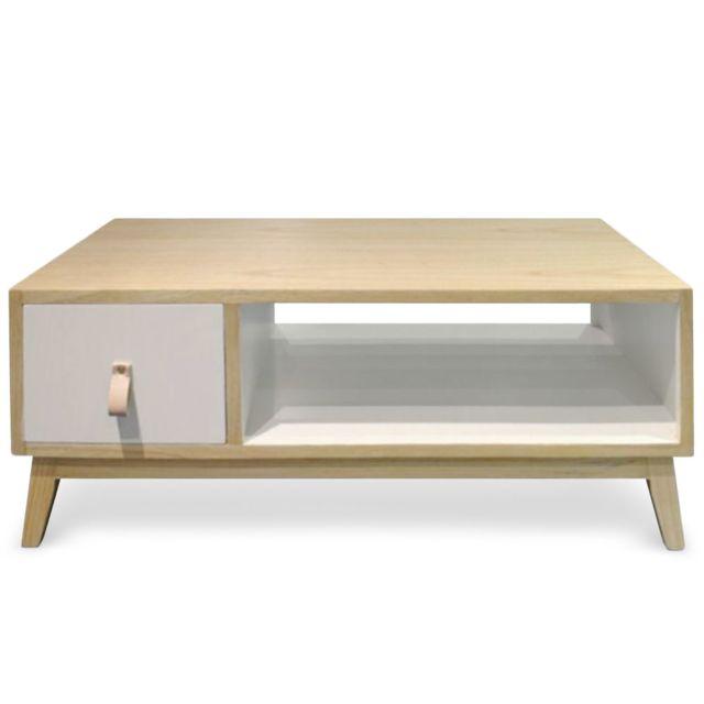 MENZZO Table basse avec tiroir style scandinave Fjord Blanc