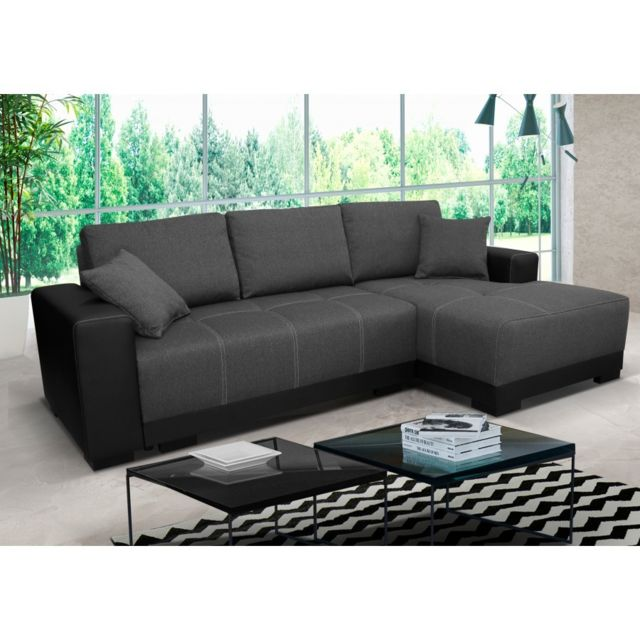 Rocambolesk Canapé Lido noir gris droit sofa divan