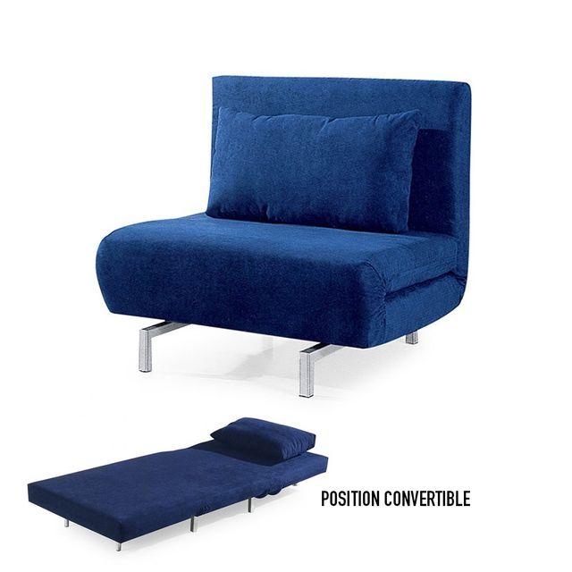 meubler design - fauteuil convertible obadia en tissu - bleu - pas