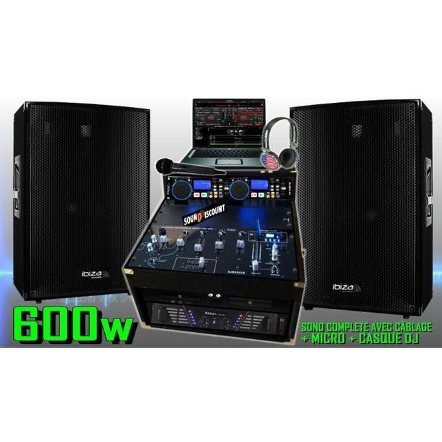 Ibiza Sound Pa dj sono complète 600w - 2 enceintes sono ampli double lecteur cd usb mp3 mixage micro dj casque - la totale