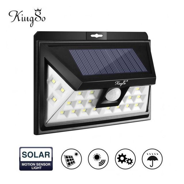 eclairage led solaire Alpexe - Lampe Solaire Extérieur 24 Leds Détecteur de Mouvement sans Fil Éclairage  Solaire du0027