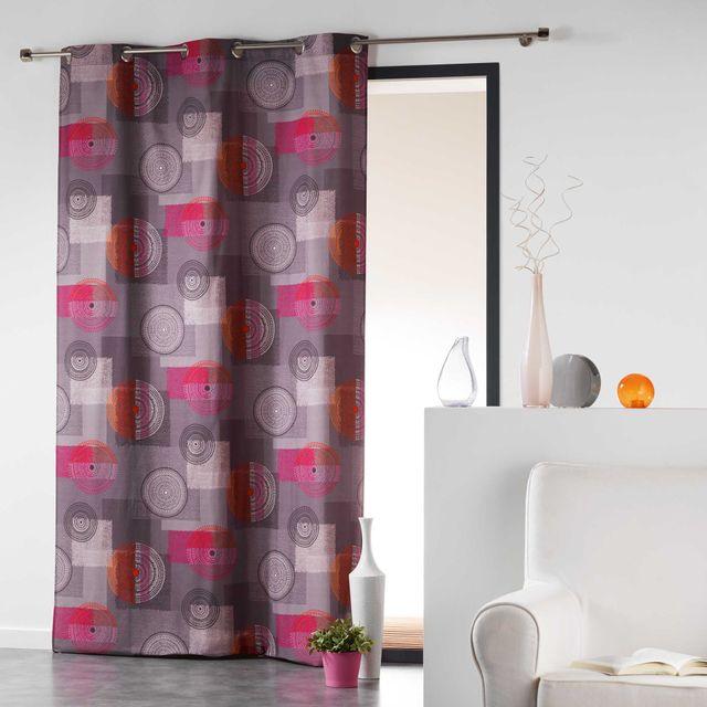 Coton D'INTERIEUR Cdaffaires Rideau a oeillets 140 x 240 cm coton imprime calypso Orange