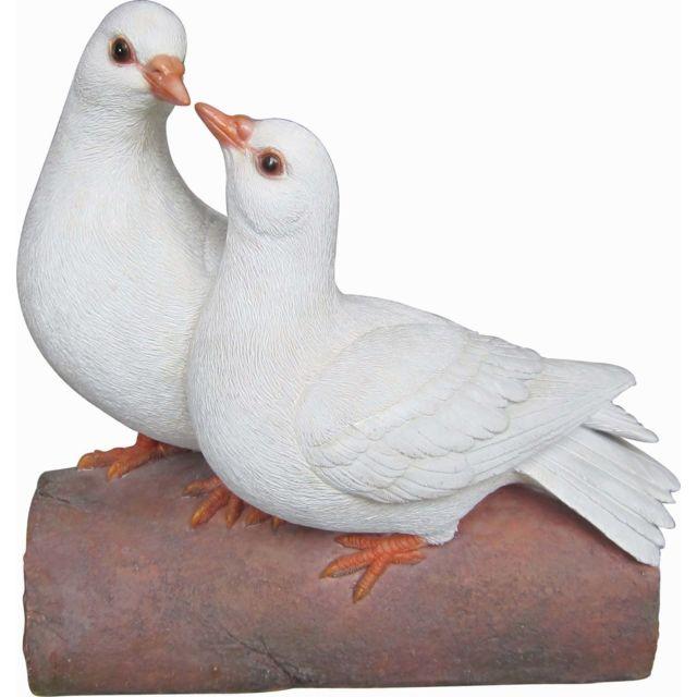 VIVID ARTS Couple de colombe sur branche en résine