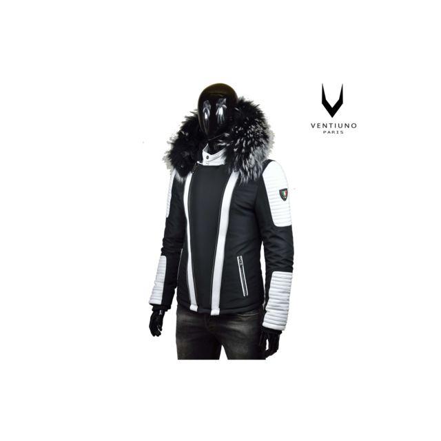VENTIUNO - FLAVIYU blanche Veste Doudoune Bi-matière fourrure véritable  taille MAX ARGENT - cuir d agneaudoudoune , fourrure, veste, doudoune, cuir,  homme ... 9f4b35a40402