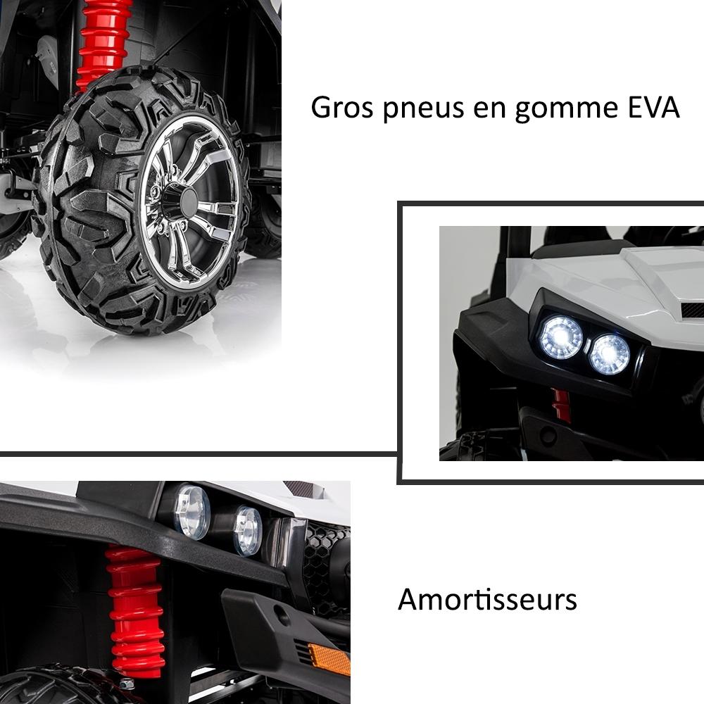 Grand 4x4 buggy voiture électrique enfant 2 places pneus Eva 24V Rouge