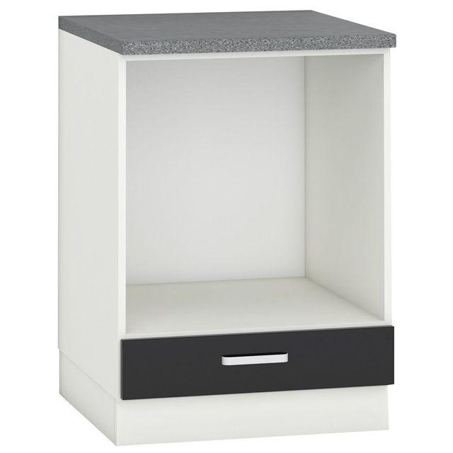 Comforium Meuble bas de cuisine design pour four 60 cm avec 1 tiroir coloris blanc mat et noir laqué