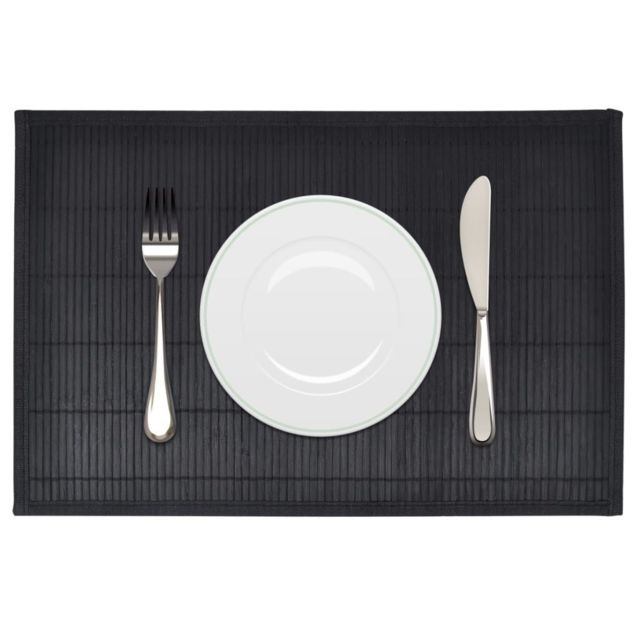 Magnifique Linge de table serie Saint-Domingue 6 Napperons en bambou 30 x 45 cm Noir