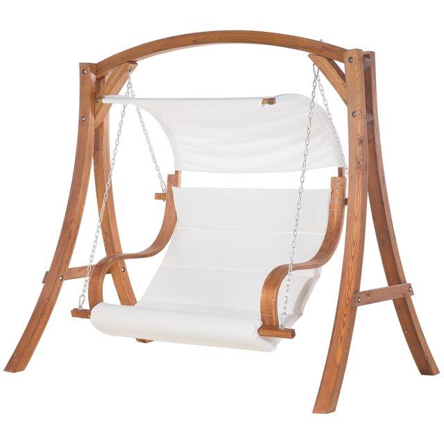 BELIANI Ballancelle de jardin en bois avec coussin blanc cassé APRILIA