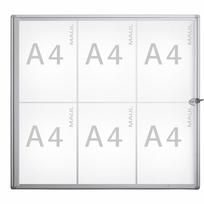 Maul - Vitrine d'affichage murale pour intérieur - 6 x format A4 - vitrine extra-plate en verre synthétique
