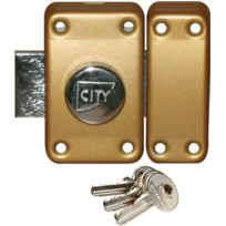 City - Verrou De Securite Ou De Surete 25 - Coloris Laiton Varie - Type:Bouton - Cyl. ext. mm:35