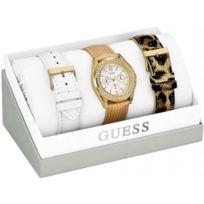 Guess - Promo Coffret Montre W16574L1 - Bracelets Blanc Doré Léopard Femme