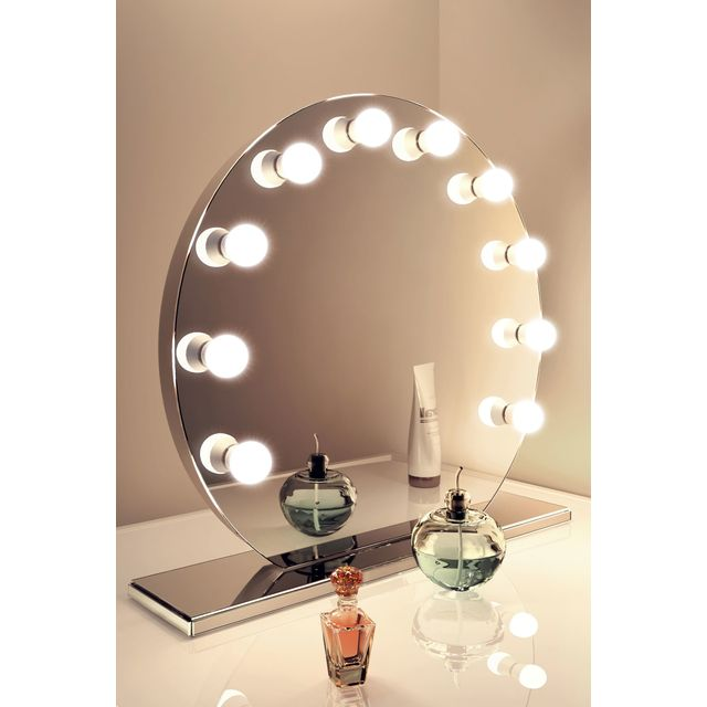 diamond x collection miroir de maquillage hollywood finition miroir lampes led blanc froid. Black Bedroom Furniture Sets. Home Design Ideas
