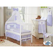 Lit et Parure de lit bébé prince ou princesse violet ciel de lit mousseline 120 60