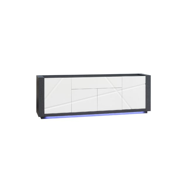 Enfilade 4 portes 1 tiroir avec leds coloris blanc laqué et gris