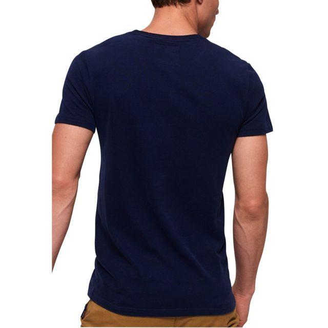 Superdry Teeshirt Vintage Logo Tri Bleu foncÉ pas cher