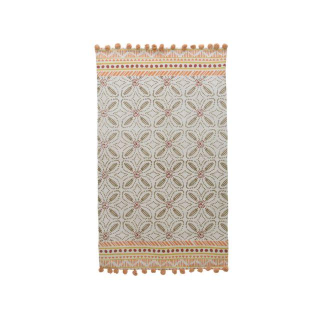decoris tapis en coton orange ethnique pompon motif. Black Bedroom Furniture Sets. Home Design Ideas