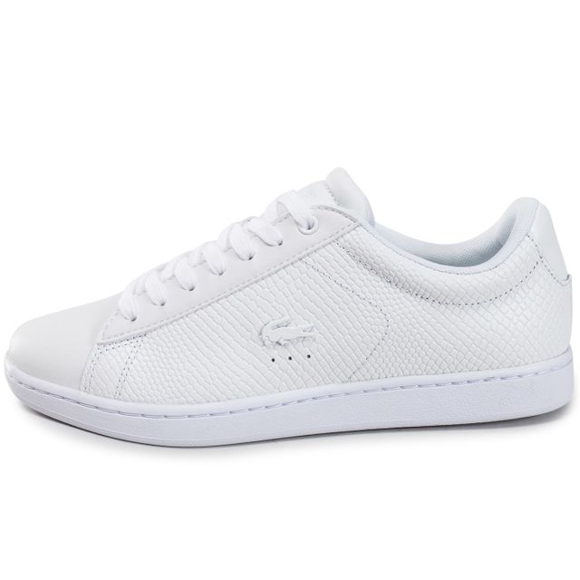 5863e7595a8 Lacoste - Carnaby Evo Texture Blanche - pas cher Achat   Vente Baskets femme  - RueDuCommerce