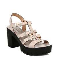 4ever young - Womens Chunky Sandal Beige Leather Strap-UK 8