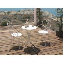Aucune - Set Table de jardin romantique en fer forgé 60 cm + 2 fauteuils - Blanc