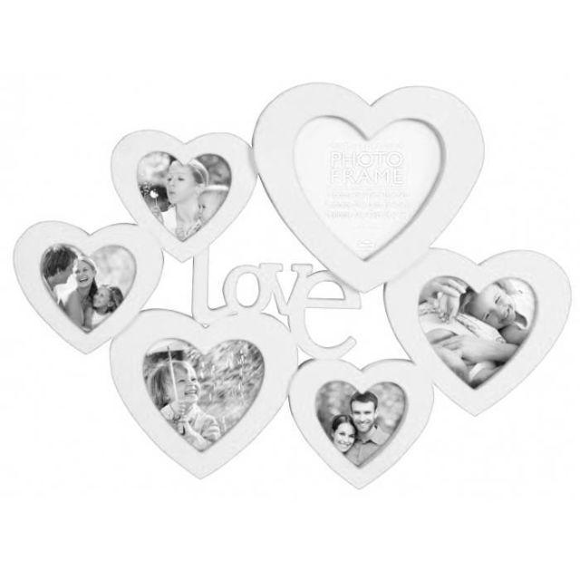 Touslescadeaux - Cadre Photo Pêle Mêle Coeurs Xxl 51 cm - Pour 6 photos - grand format - Blanc Noir - 36cm x 55cm