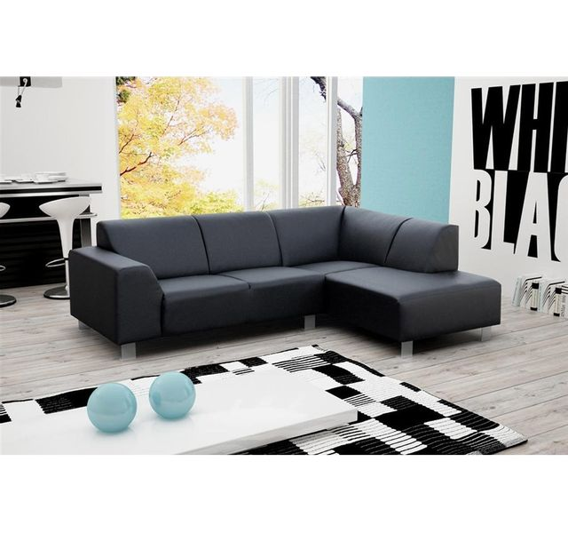 CHLOE DESIGN Canapé d'angle en Cuir PU PIA - noir - Angle droit