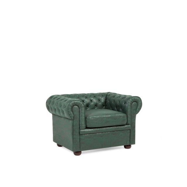 BELIANI Fauteuil en polyester imitation cuir CHESTERFIELD - vert