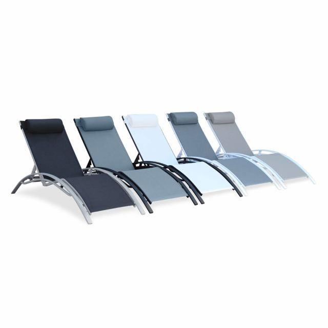 ALICE'S GARDEN - Louisa x2 - Blanc / Gris - Duo 2 bains de soleil en Aluminium et textilène lounge transat Blanc gris