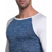 Celebry tees - T-shirt blanc et bleu raglan fashion pour homme