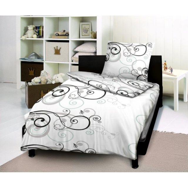 univers decor parure de couette 2 pi ces tennessee noir 100 coton 57 fils cm 140cm x 200cm. Black Bedroom Furniture Sets. Home Design Ideas