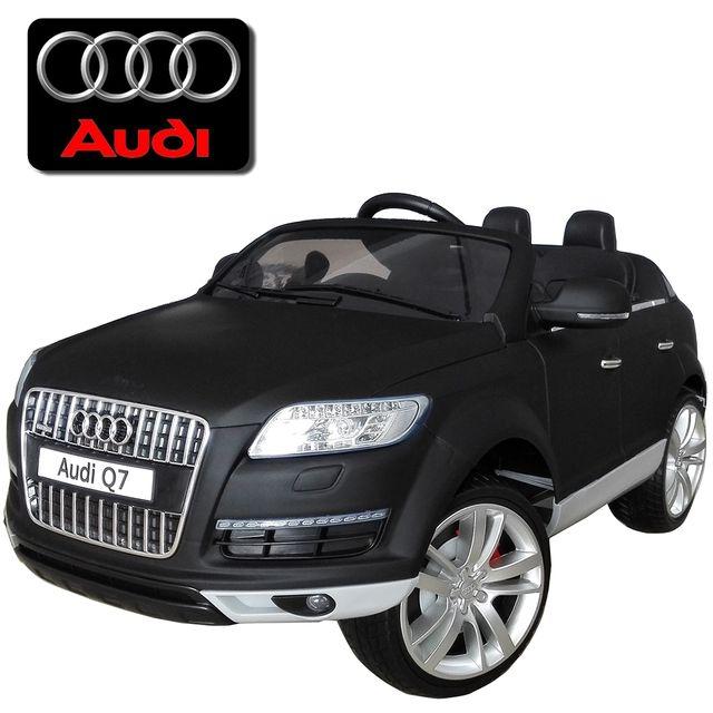 Audi - Petite voiture électrique enfant Q7 noir mat pneus Eva 12V ... 7af59651e665