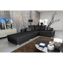 Relax design - Canapé Malcolm noir Canapé d'angle convertible + pouf sofa divan