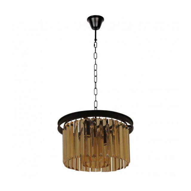 Luminaire Center Suspension noire Loft 3 ampoules Diamètre 30 Cm