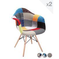 Kayelles - chaise patchwork Nador rembourré - Lot de 2 patchwork
