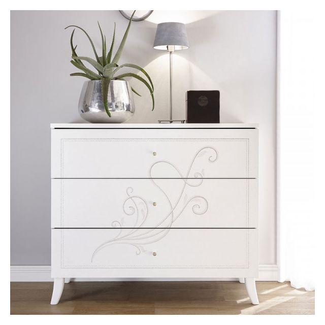 Dansmamaison Commode 3 tiroirs Blanc - Lady - L 104 x l 45 x H 92 cm