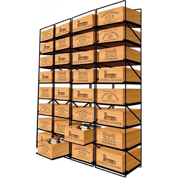 Modulorack Racks coulissants pour 32 caisses de vin en Bois soit 384 bouteilles - Aci-mod513V