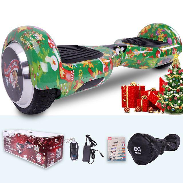 COOL AND FUN - COOL&FUN Hoverboard Spécial Noël, Scooter électrique Auto-équilibrage,gyropode 6,5 pouces Spécial Noël vert