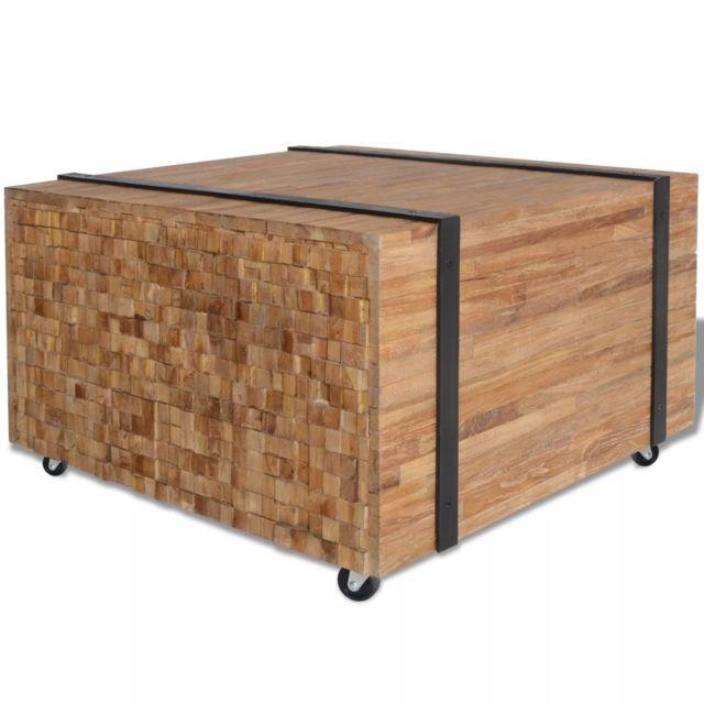 Moderne Consoles selection Asuncion Table d'appoint en teck 60 x 60 x 38 cm