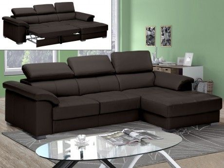 LINEA SOFA Canapé d'angle convertible cuir luxe EXPERIENCIA - chocolat - Angle droit