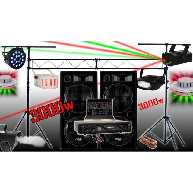 Ibiza Sound Pack Sono 3000W + Ampli + Enceintes + 6 Jeux De LumiÈRE + Machine A FumÉE + Portique De 3M . Padj Led