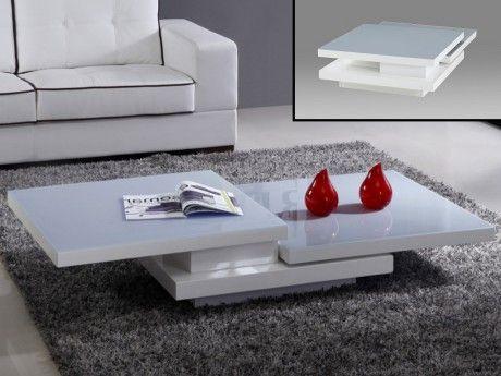 Vente-unique Table basse Estrada plateaux pivotants - Mdf - Blanc & Gris