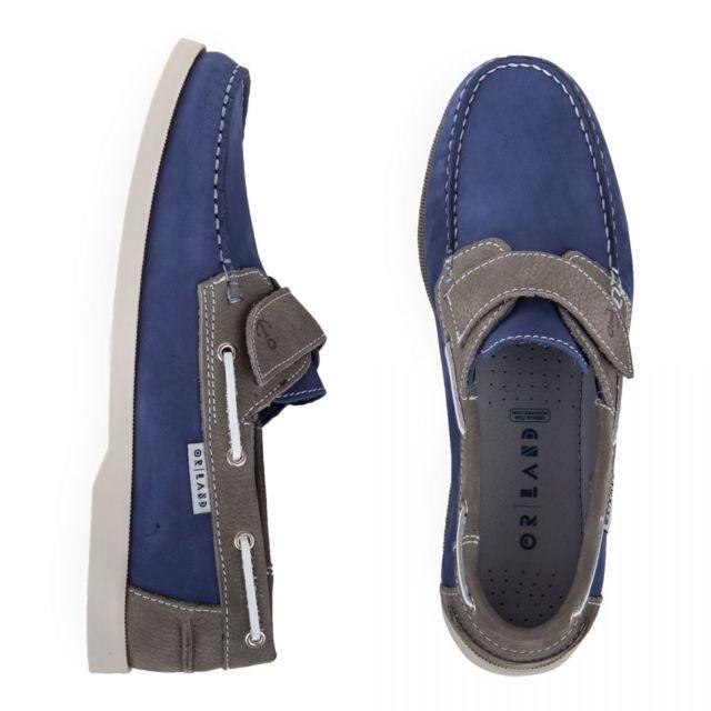 Orlando Chaussures bateau en cuir homme Bleu 43 pas
