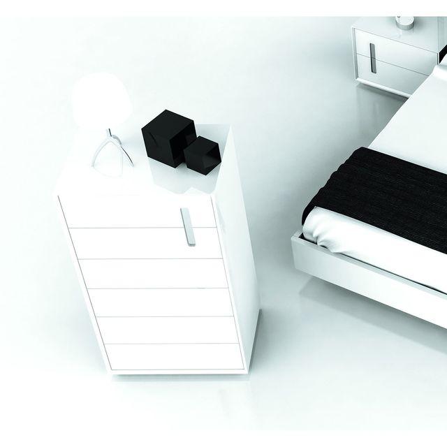 Cubisl Chiffonier 6 Tiroirs Décor Inox sur 2 tiroirs du haut 100941 - Bazic6T