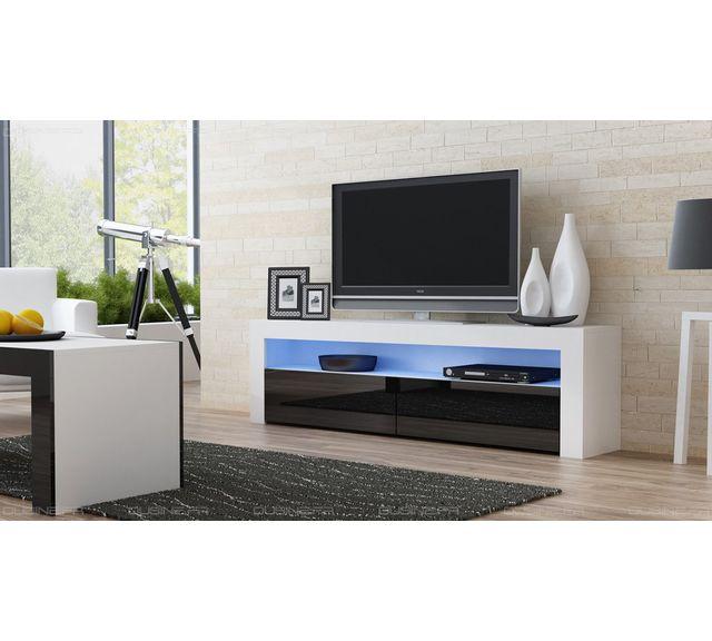 Dusine Meuble Tv Savelli Led Blanc Mat et portes Noir laqué 157 cm