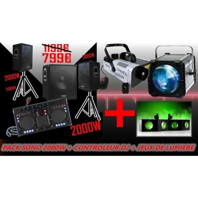 Ibiza Sound Pack sono 2000w - contrôleur korg kaoss dj - jeux de lumière- caisson amplifie 800w - enceintes 700w - cable s - pieds