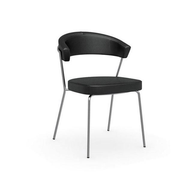 Inside 75 Chaise New York design italienne en tissu enduit polyuréthane simili façon cuir noir